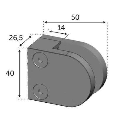 Pince à Verre 50x40-Fixation sur plat - Zamac Brut