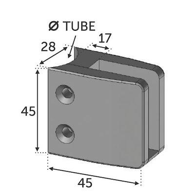 Pince à Verre carré fixation tube 42.4 ZAMAC BRUT