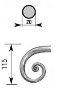 Crosse pour main courante rond 20mm lisse