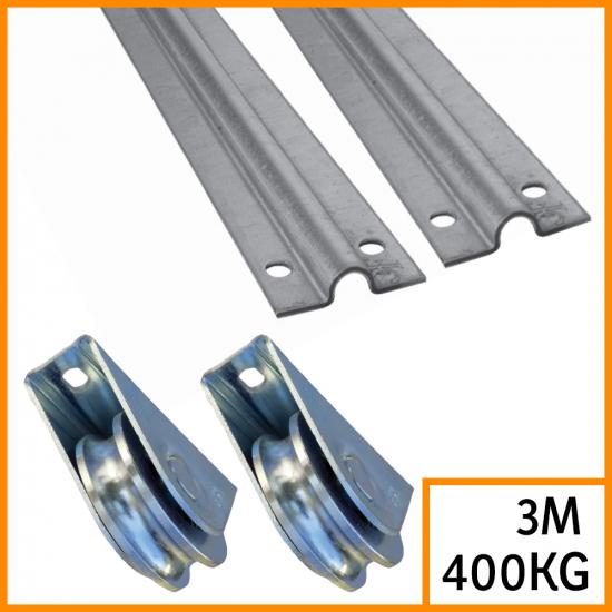 Kit pour portail coulissant rails 3 m